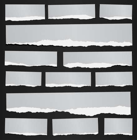 Conjunto de varios papeles grises recicladas desgarrados granuladas nota sobre fondo negro. Foto de archivo - 49489141