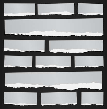 Set of various gray recycled torn grainy note papers on black background. Illustration