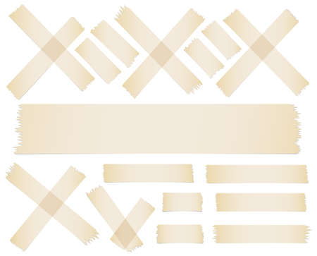 scotch: Set of accept or yes, cross and different size adhesive tape pieces on white background.