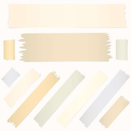 수평 대각선 크기가 다른 접착 테이프, 흰색 배경에 접착제 조각의 집합입니다.