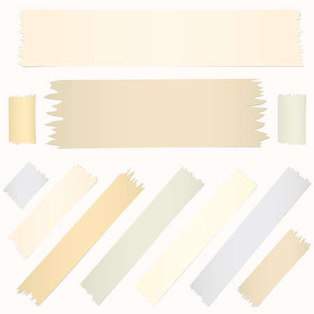 Set of horizontal diagonal and different size sticky tape, adhesive pieces on white background.
