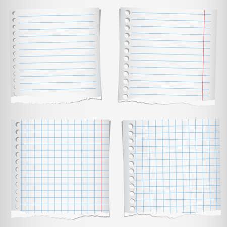 선 및 그리드 찢어진 노트북 종이의 집합입니다.