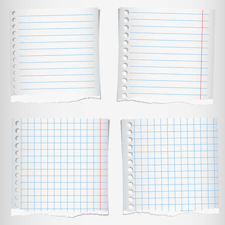 Set of torn notebook papers with lines and grid.