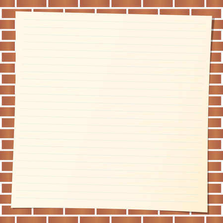 beige: Light brown note paper with blue lines on brick wall.