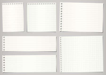 Zestaw podartych papierów notebooka z linii i siatki na szarym tle.