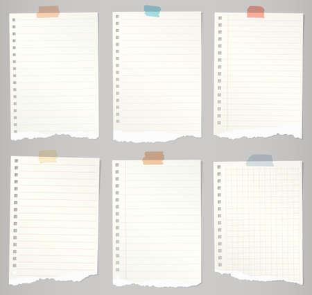 blatt: Set zerrissene Notebook Papiere mit Linien, Raster und bunte Klebeband.