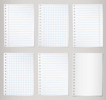 Set van notebook papier met lijnen en grid.