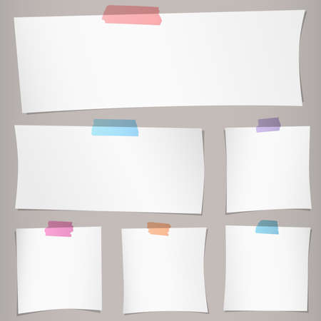 adhesive tape: Set of various gray note papers with colorful adhesive tape on brown background.