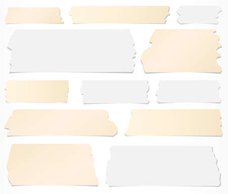 sticky: Set of horizontal and different size sticky tape, adhesive pieces on white background.