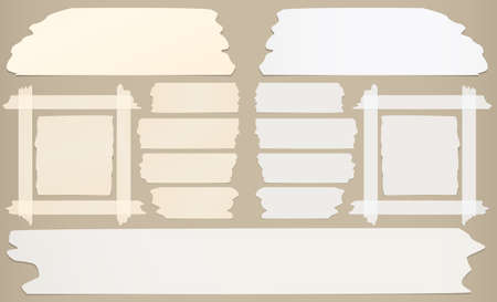 sticky tape: Frame with horizontal and different size sticky tape, adhesive pieces on brown background.