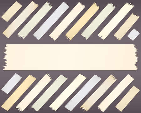 gray strip: Set of horizontal diagonal and different size sticky tape, adhesive pieces on purple background.