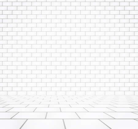 walkway: White brick wall texture with stone tile walkway. Illustration