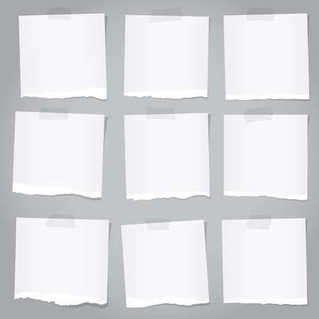 adhesive tape: Pieces of torn gray note paper with adhesive tape.