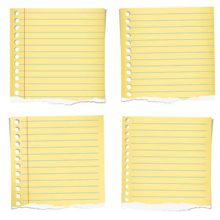 Set Of Yellow Torn Notebook Papers With Blue Lines On White