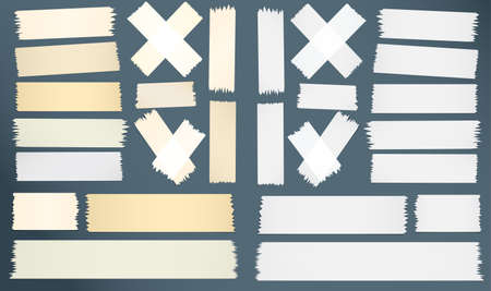 gray strip: Different size, horizontal cross adhesive sticky tape pieces with copy space. Illustration