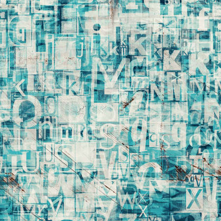 distressed paper: Collage of blue newspaper, magazine letters on painted cracked scratched background.