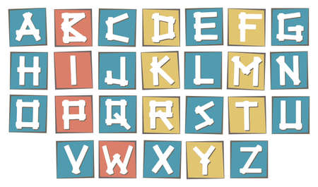 uppercase: Set of colorful uppercase  alphabet letters on square with frame.