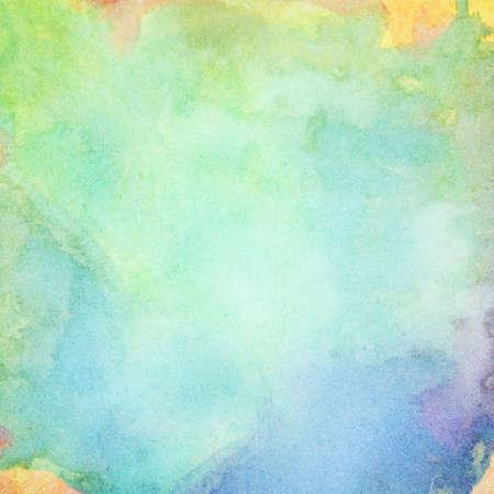 abstrait bleu clair, aquarelle peinte en vert éclaboussures fond.