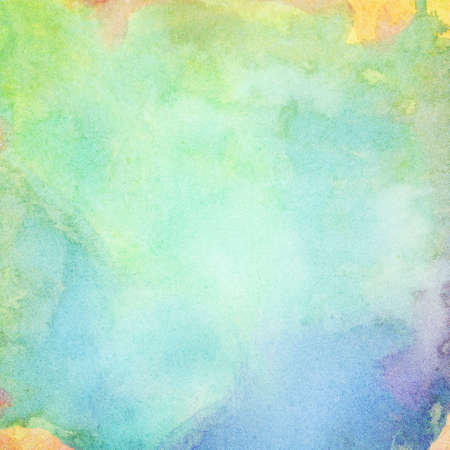 blue background abstract: Light abstract blue, green painted watercolor splashes background.