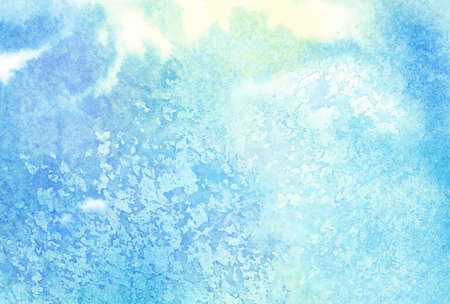sky blue: Light abstract blue painted watercolor splashes or cloud, sky. Stock Photo