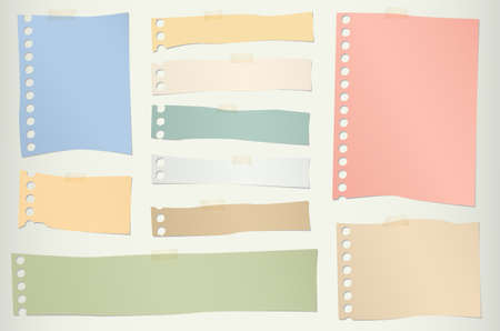 paper note: Pieces of torn colorful blank note paper with adhesive tape. Illustration