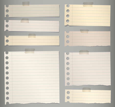 note paper: Pieces of torn brown lined note paper with adhesive tape.