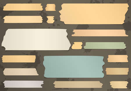 sticky tape: Set of horizontal and different size sticky tape, adhesive pieces on brown background.