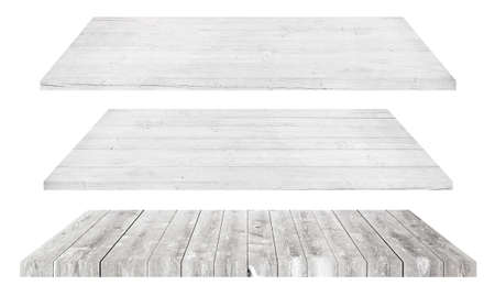 tabletop: White wooden shelves or tabletop isolated on white.