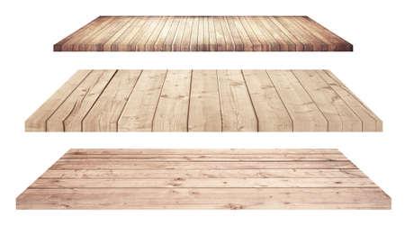 estanterias: Los estantes de madera o tablero de la mesa aislada en blanco.