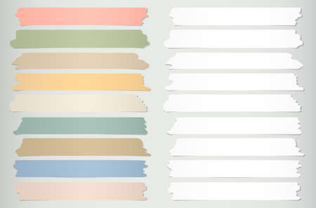 torn: Colorful, gray horizontal sticky tape, adhesive pieces on gray background.
