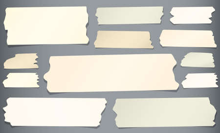 sticky tape: Horizontal and different size sticky tape, adhesive pieces on gray background. Illustration