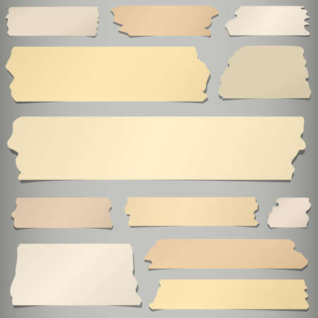 Set of horizontal and different size sticky tape, adhesive pieces on gray background.