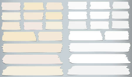 scotch tape: Horizontal and different size sticky tape, adhesive pieces on gray background. Illustration