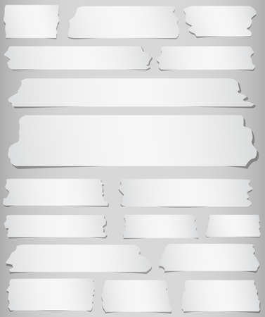 gray strip: Horizontal and different size sticky tape, adhesive pieces on gray background. Illustration