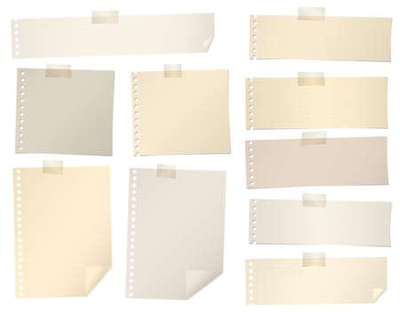 갈색의 조각은 접착 테이프로, 그리드 메모 용지를 늘어서있다. 일러스트