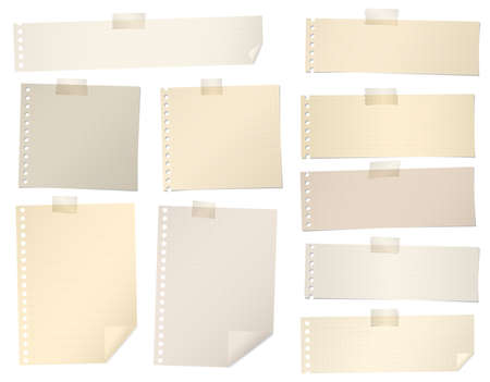 Pieces of brown lined, grid note paper with adhesive tape. Stock Illustratie