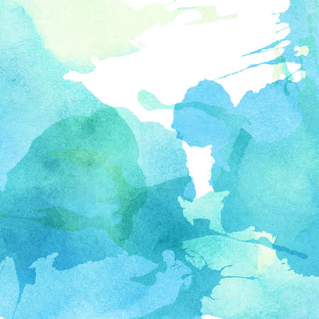 cuadros abstractos: azul extracto de la luz, acuarela pintada de verde salpica el fondo. Foto de archivo