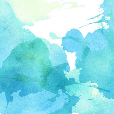 sottofondo: Luce blu, verde acquerello dipinto spruzza la priorità bassa. Archivio Fotografico