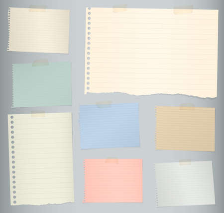 Pieces of torn colorful lined note paper on gray background. Stock Illustratie