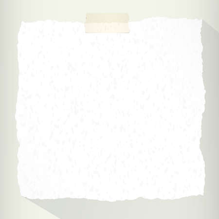 copy space: Piece of torn white note paper with long shadow.