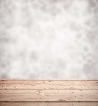 rustic  wood: Empty table and blurred litghts, bokeh background. Stock Photo