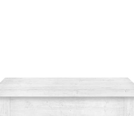 Empty gray wooden table on white background.