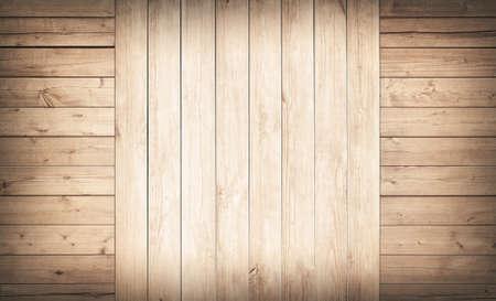 光の茶色の木製壁、板の床面。
