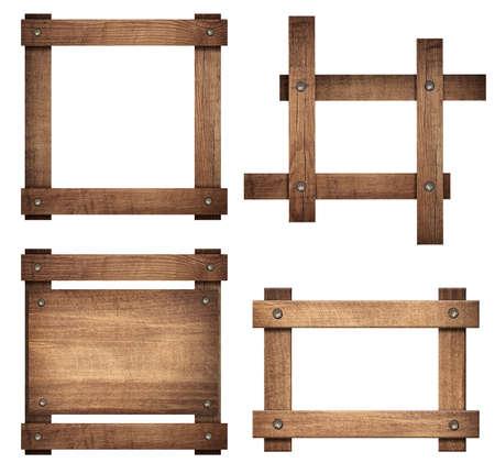 grecas: Conjunto de señal de madera de color marrón y marcos oscuros son aislados en fondo blanco. Foto de archivo