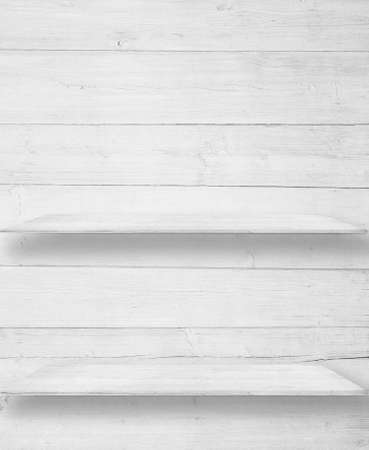 #52075701   White Wood Wall With Wooden Shelves, Table Surface.