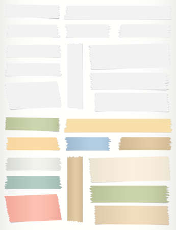 scotch tape: Colorful, gray horizontal sticky tape, adhesive pieces on gray background.