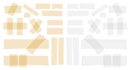 scotch: Symbols and different size sticky, adhesive tape pieces on white background. Illustration