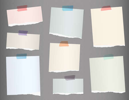 paper note: Pieces of torn colorful blank note paper on gray background.