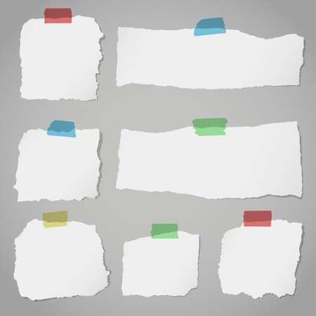 blank note: Pieces of torn white blank note paper with colorful sticky tape on gray background. Illustration