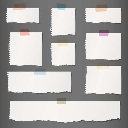 Pieces of torn white blank note paper with colorful sticky tape on dark gray background.